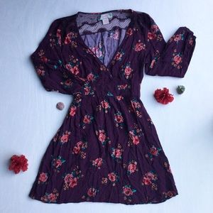Flying Tomato - Floral, Long Sleeve, Mini Dress